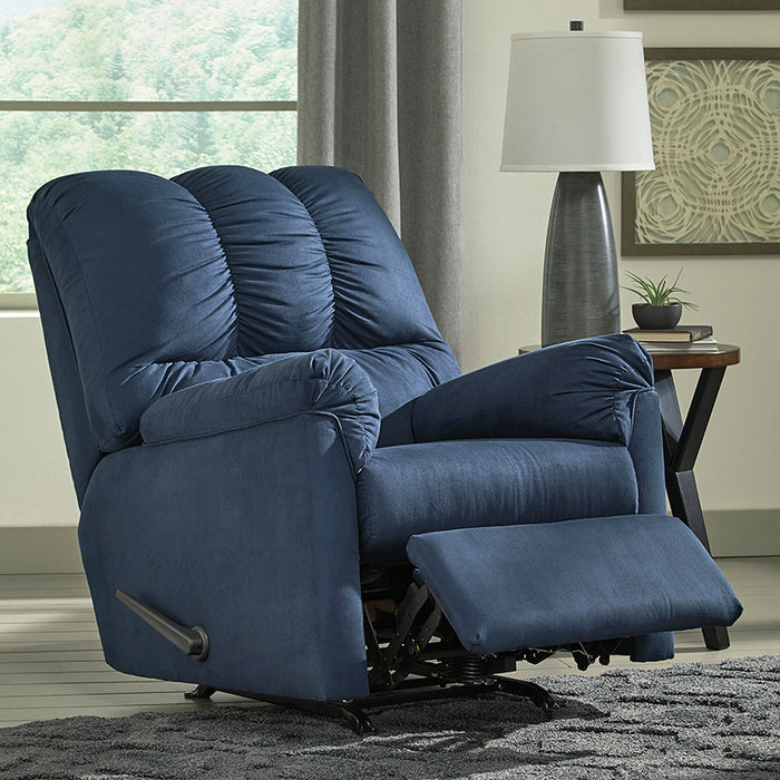 Signature Design by Ashley Darcy Rocker Recliner in Blue Microfiber