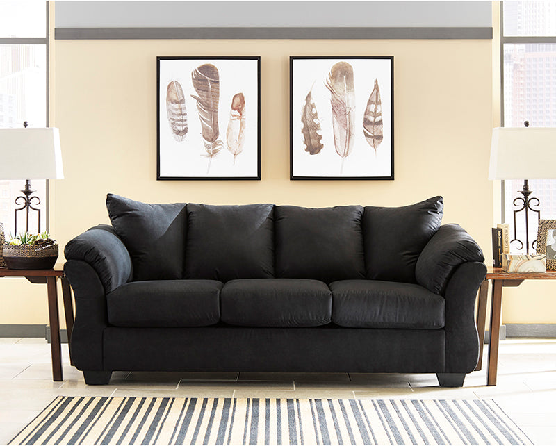 Signature Design by Ashley Darcy Sofa in Black Microfiber