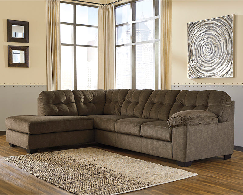 Signature Design by Ashley Accrington 2-Piece RAF Sofa Sectional in Earth Microfiber