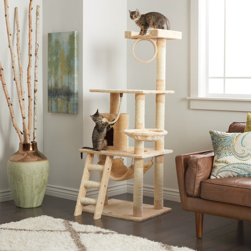 "56"" Beige Cat Tree Condo Scratching Post - 3 Platform Feature - Faux Fur"