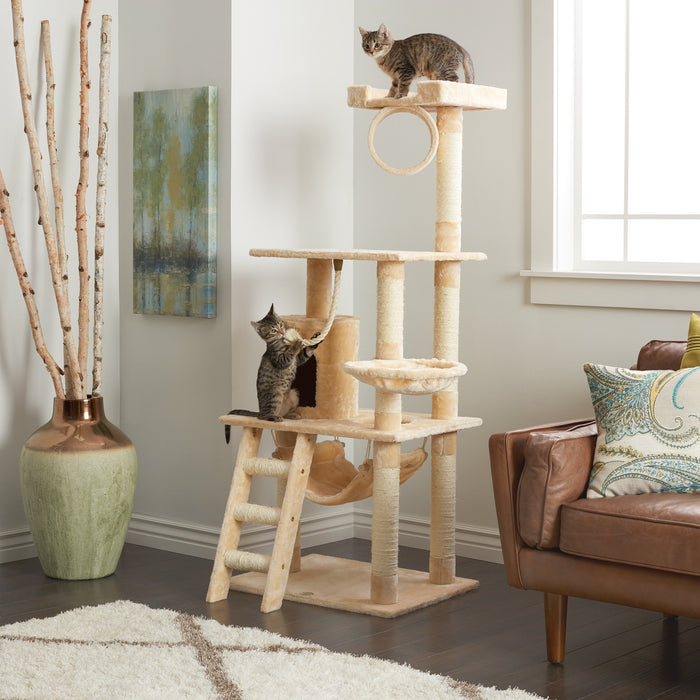 "65"" Beige Cat Tree Condo Scratching Post - 3 Platform Feature - Faux Fur"
