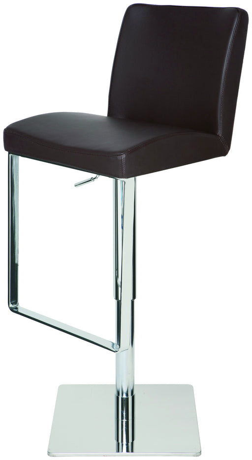 Nuevo Modern Furniture Matteo Adjustable Stool in Brown Leather on Silver Metal Base