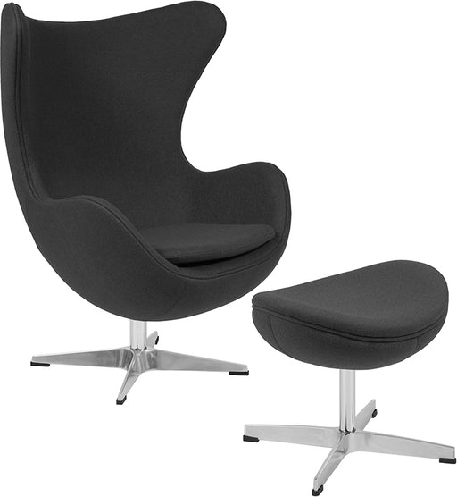 Gray Wool Fabric Egg Chair with Tilt-Lock Mechanism and Ottoman