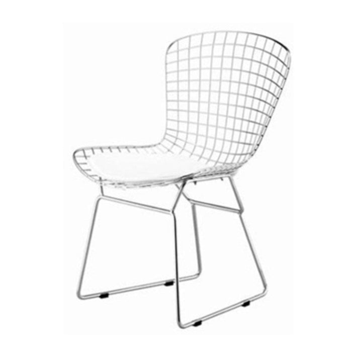 Harry Bertoia Chromed Steel Wire Frame Side Chairs with Leatherette PU Pad, White (Set of 4)