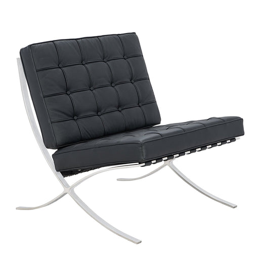 Barcelona Couch Sofa Leather with Stainless Steel Frame Loveseat- Black