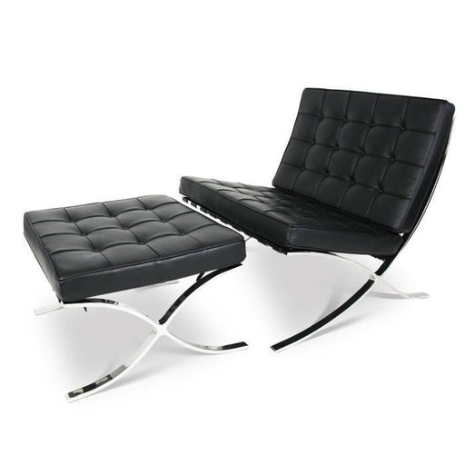 Barcelona Chair and Ottoman in Black