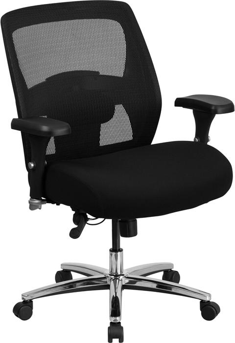 500 lb. Rated 24/7 Intensive Use Big & Tall  Black Mesh Executive Swivel Chair with Ratchet Back