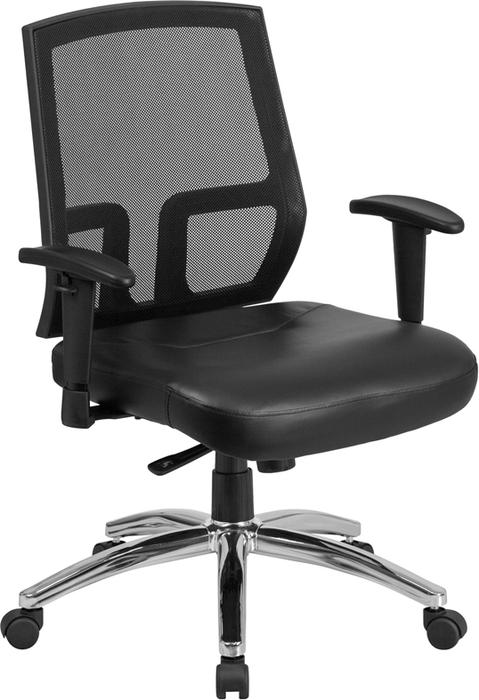 400 lb Big & Tall Black Mesh Mid-Back Executive Swivel Chair with Leather Seat and Arms