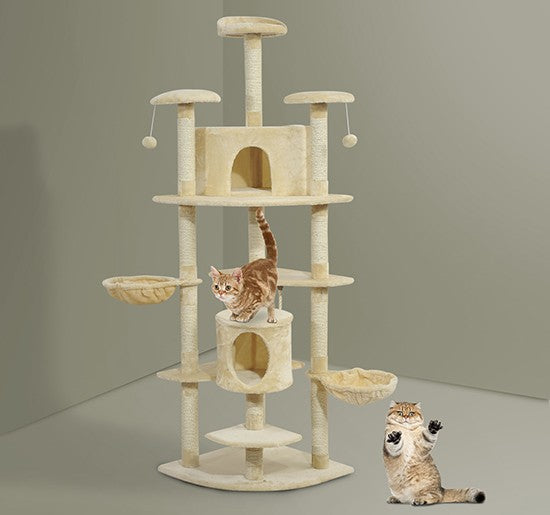 "81"" Beige Cat Tree Condo - Bamboo Fiber Board covered in Natural Sisal Rope"