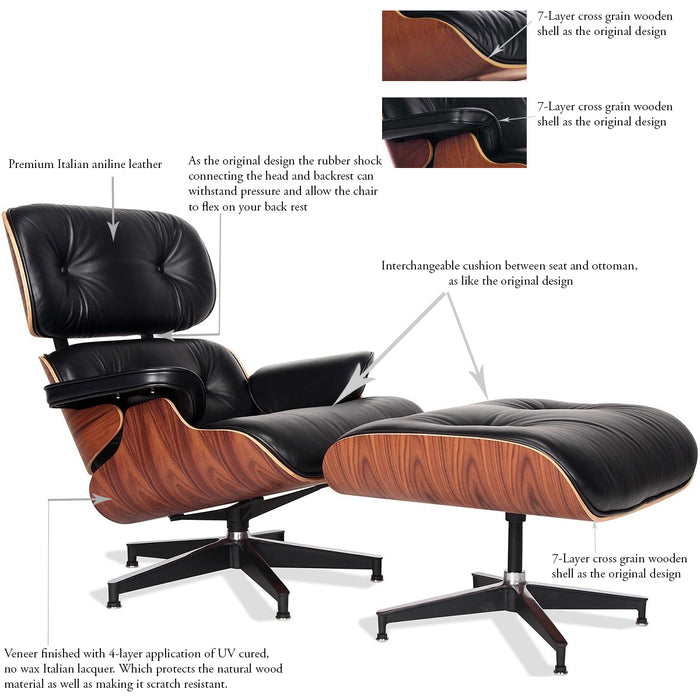 Eames Design Lounge Chair and Ottoman Aniline Italian Leather