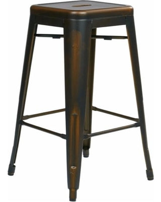 "Bristow 30"" Antique Metal Bar stool, Antique Copper Finish, 2 Pack"