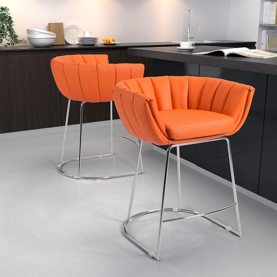 Latte Counter Chair Orange (Set of 2)
