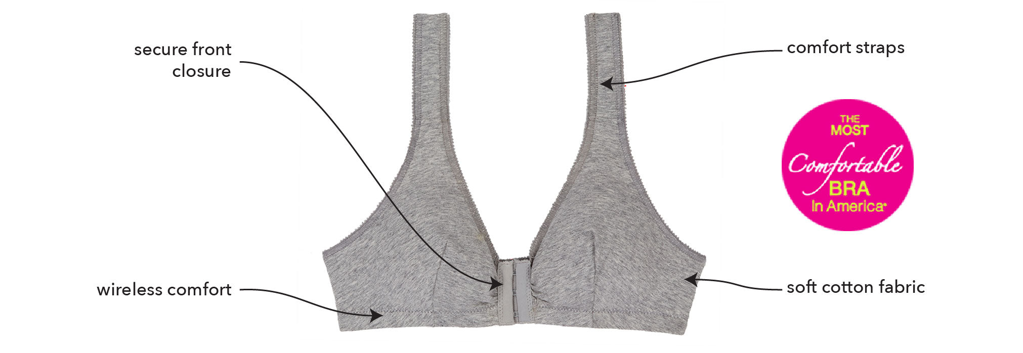 The Meryl - Cotton Front-Closure Leisure Bra | 110 - Product Detail View