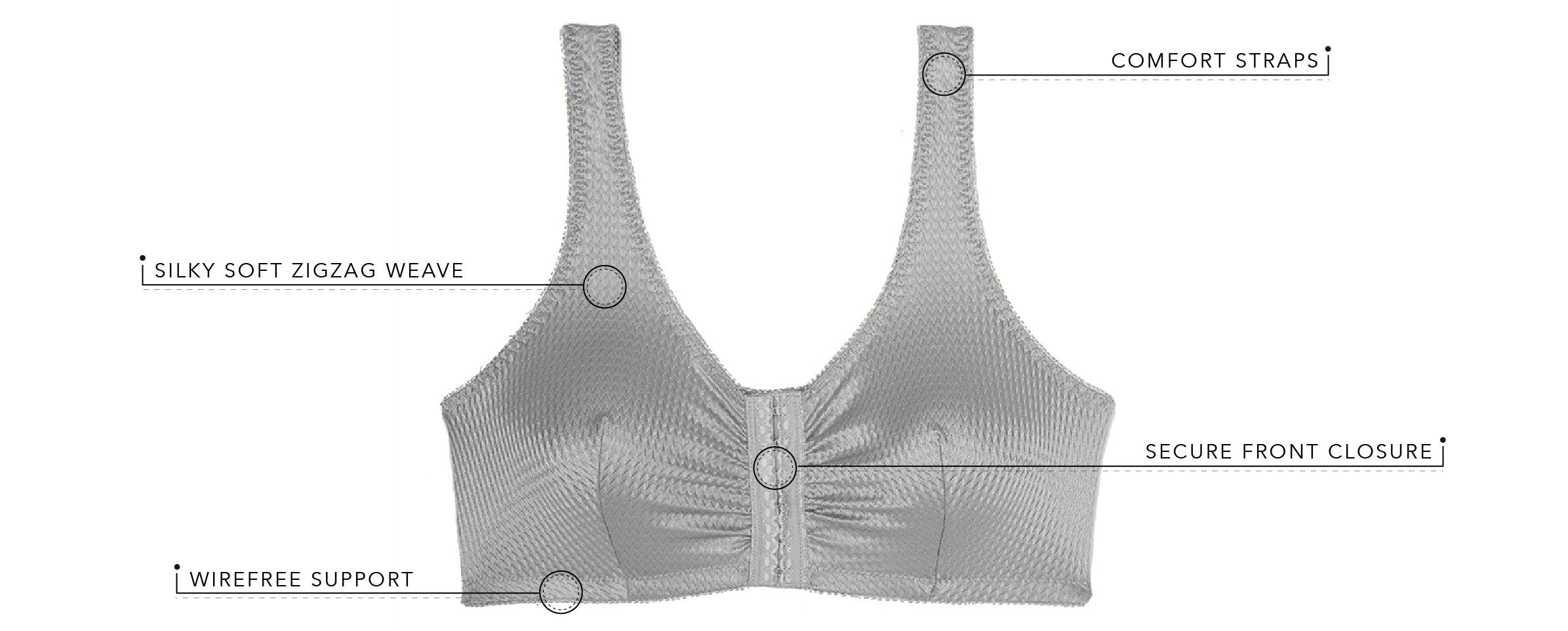 The Marlene - Zig-Zag Weave Front-Closure Leisure Bra | 151 - Product Detail View