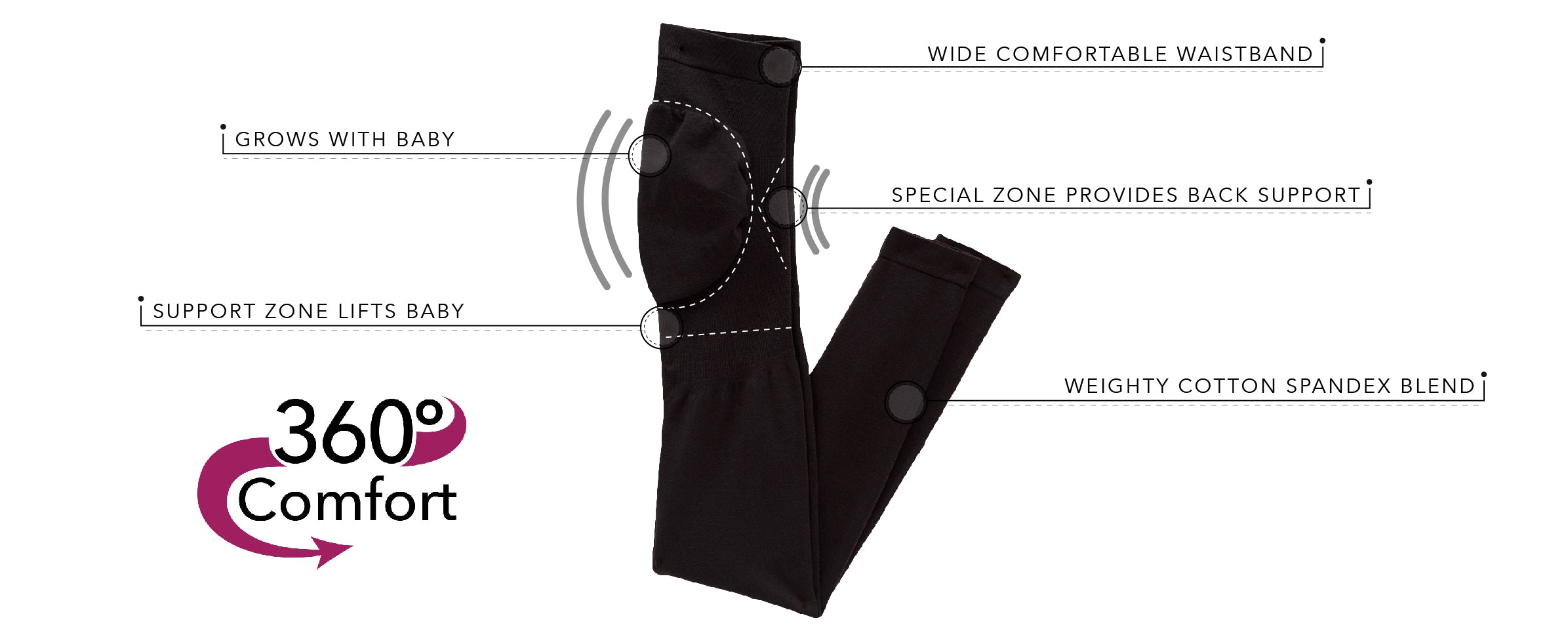 2-Pack Maternity Support Leggings Patented Back Support | 4022-2pk - Product Detail View