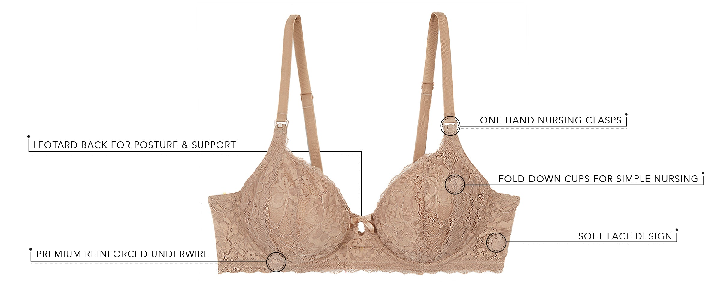 Peggy Luxe Body Lace Underwire Nursing Bra | 4053 - Product Detail View