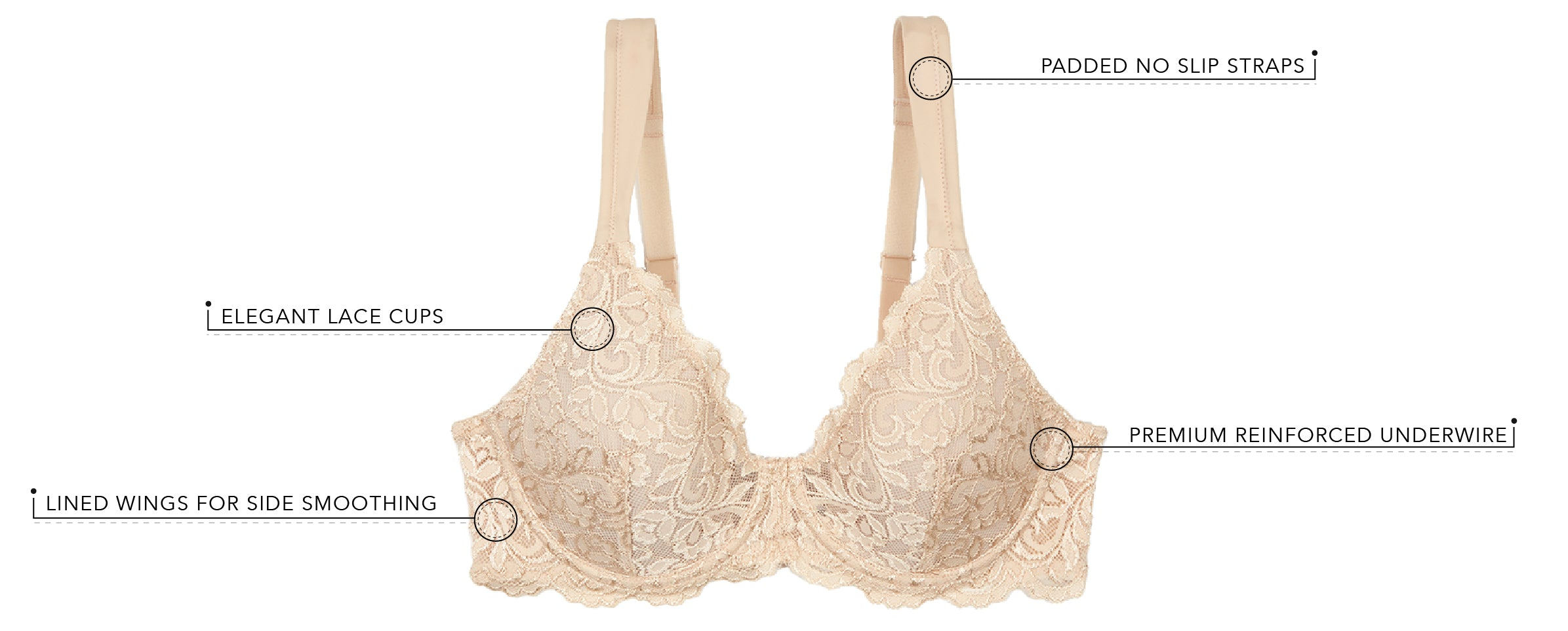 The Ava - Scalloped Lace Underwire Full Figure Bra | 5044 - Product Detail View