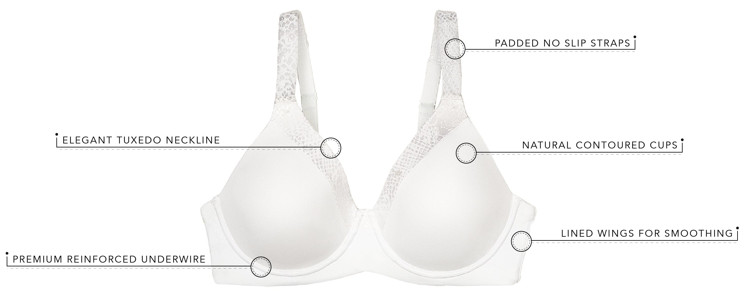 The Brigitte Luxe 2-Pack -Underwire T-Shirt Bra | 5210 - 2pk - Product Detail View