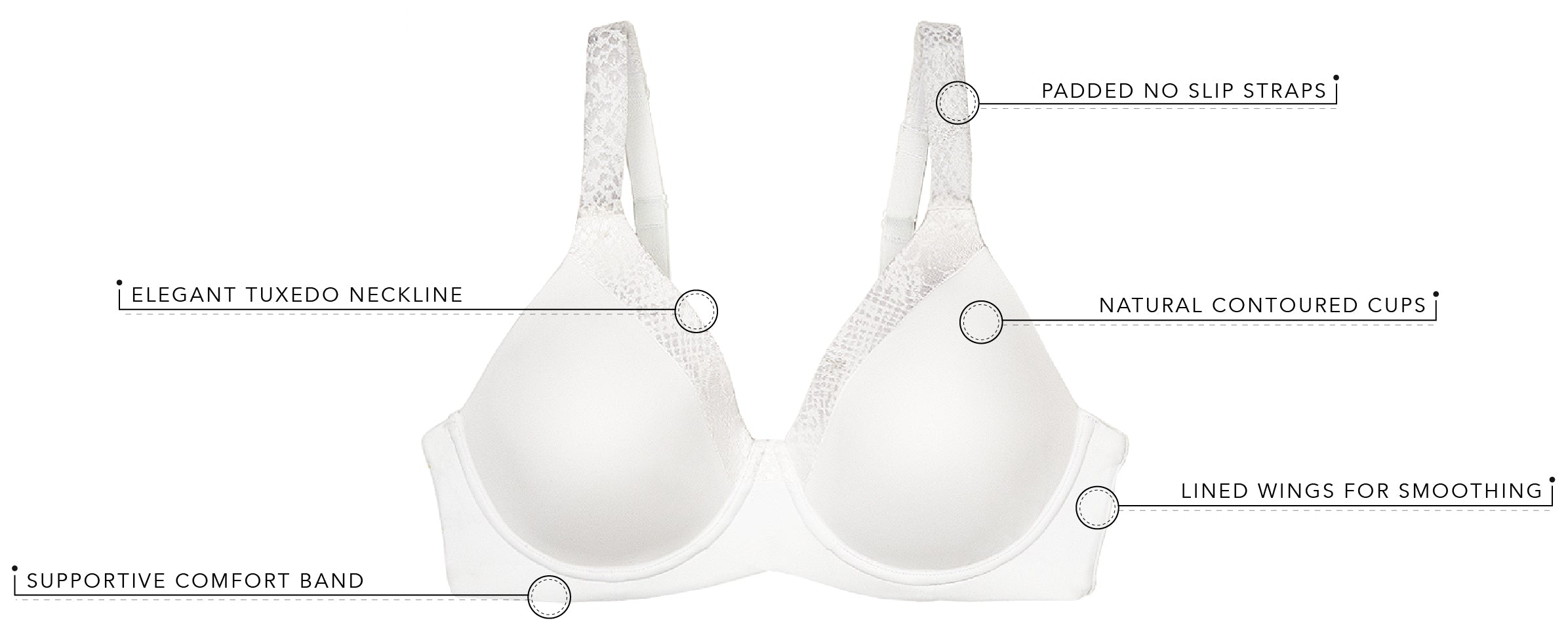 The Brigitte Luxe 2-Pack -Wirefree T-Shirt Bra | 5211 - 2pk - Product Detail View
