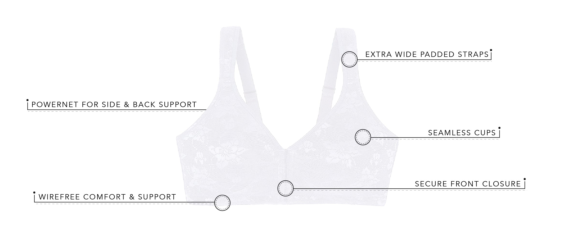 The Irene - Luxe Support Lace Front Closure Bra | 5213 - Product Detail View