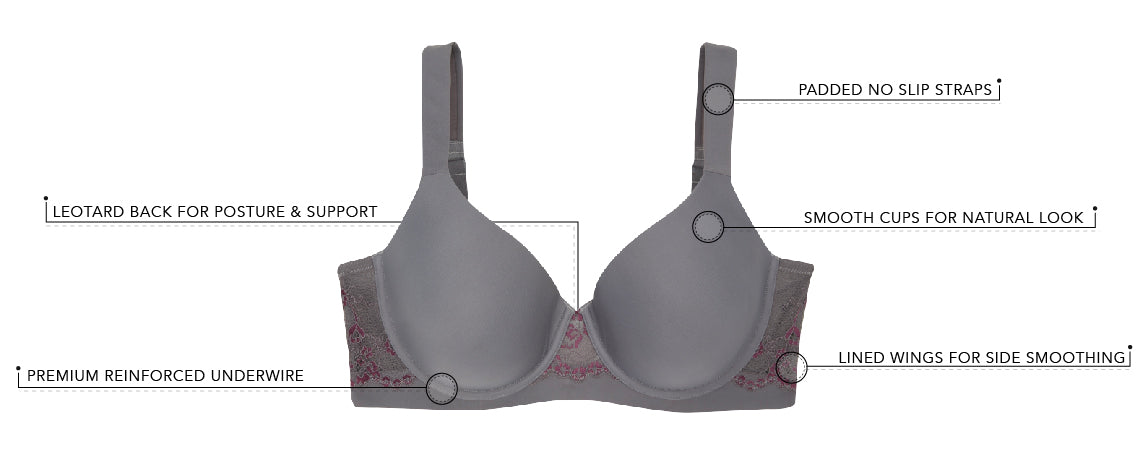 The Brigitte Lace Underwire - Padded Comfort Bra | 5214 - Product Detail View