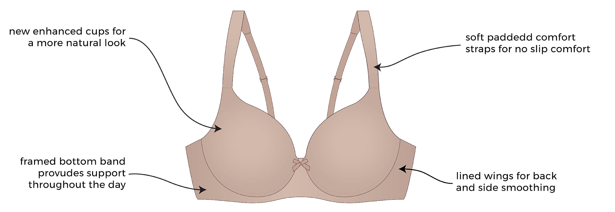 The Brigitte Classic Wirefree - Padded T-shirt Bra | 5225 - Product Detail View