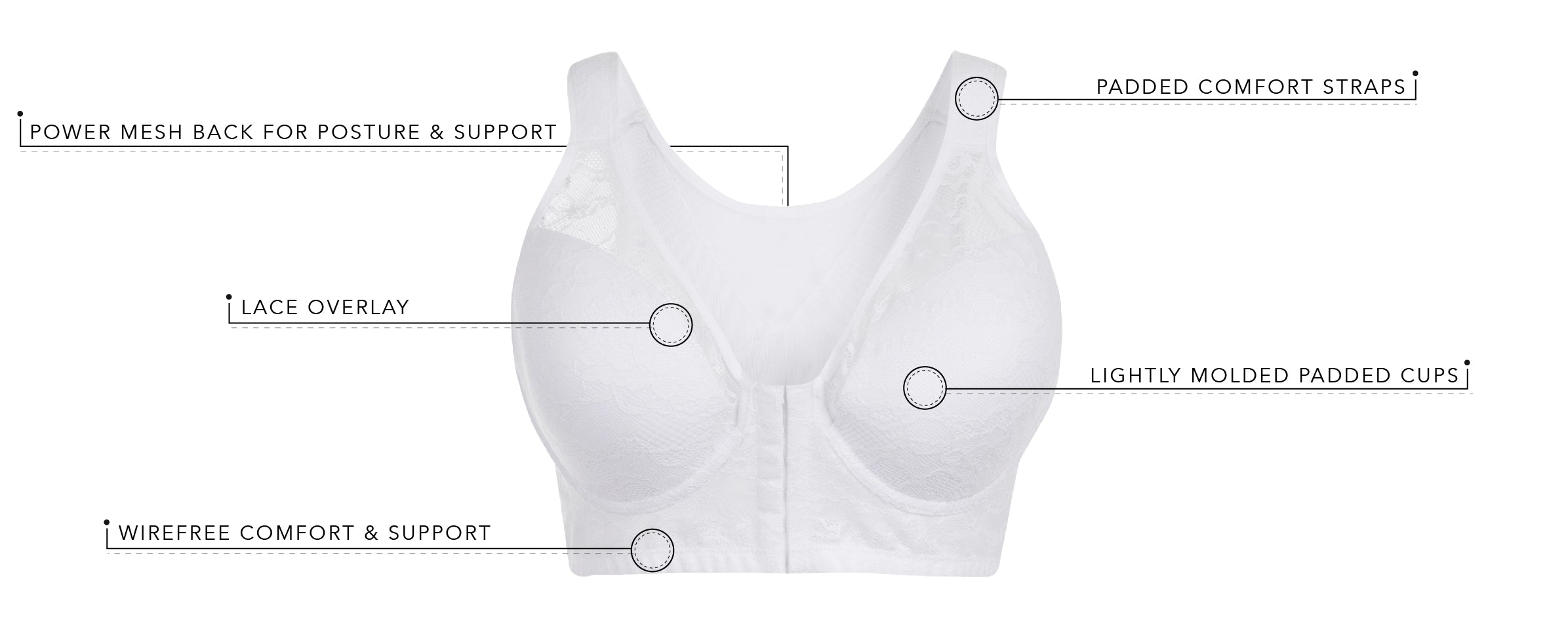 The Grace - Lace Covered Wirefree Posture Bra | 5230 - Product Detail View