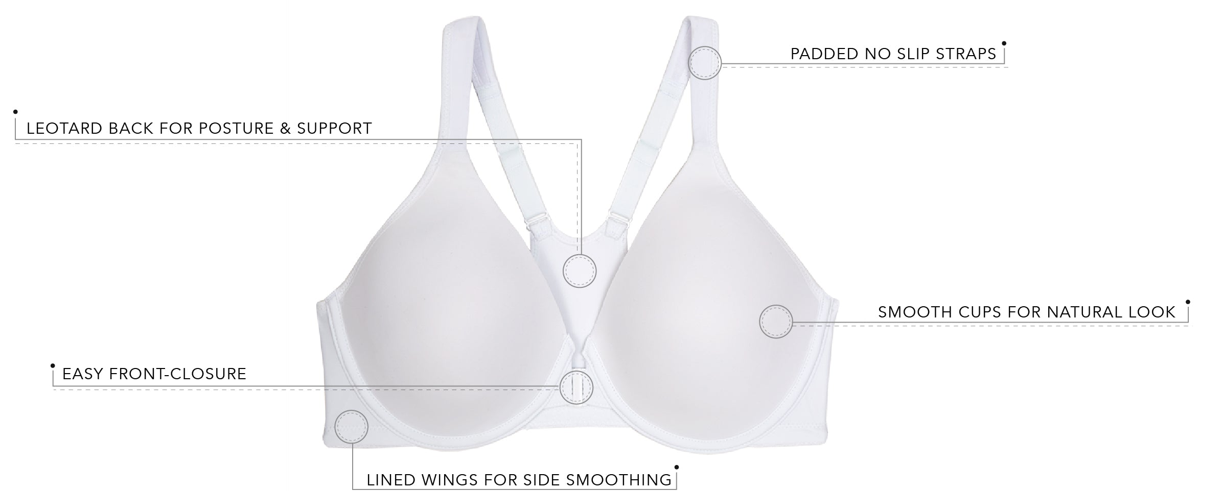 The Brigitte Racerback 2-Pack - Front Closure Underwire Bra | 5415-2pk - Product Detail View