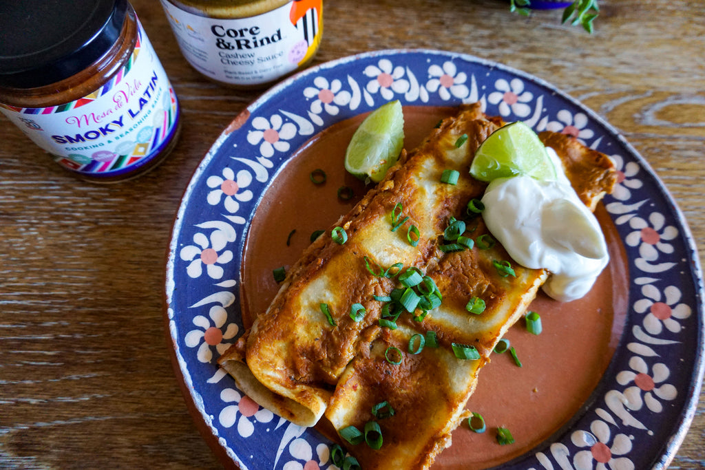 Smoky Latin Bean & Cashew Cheese Enchiladas (vegan, gluten-free)