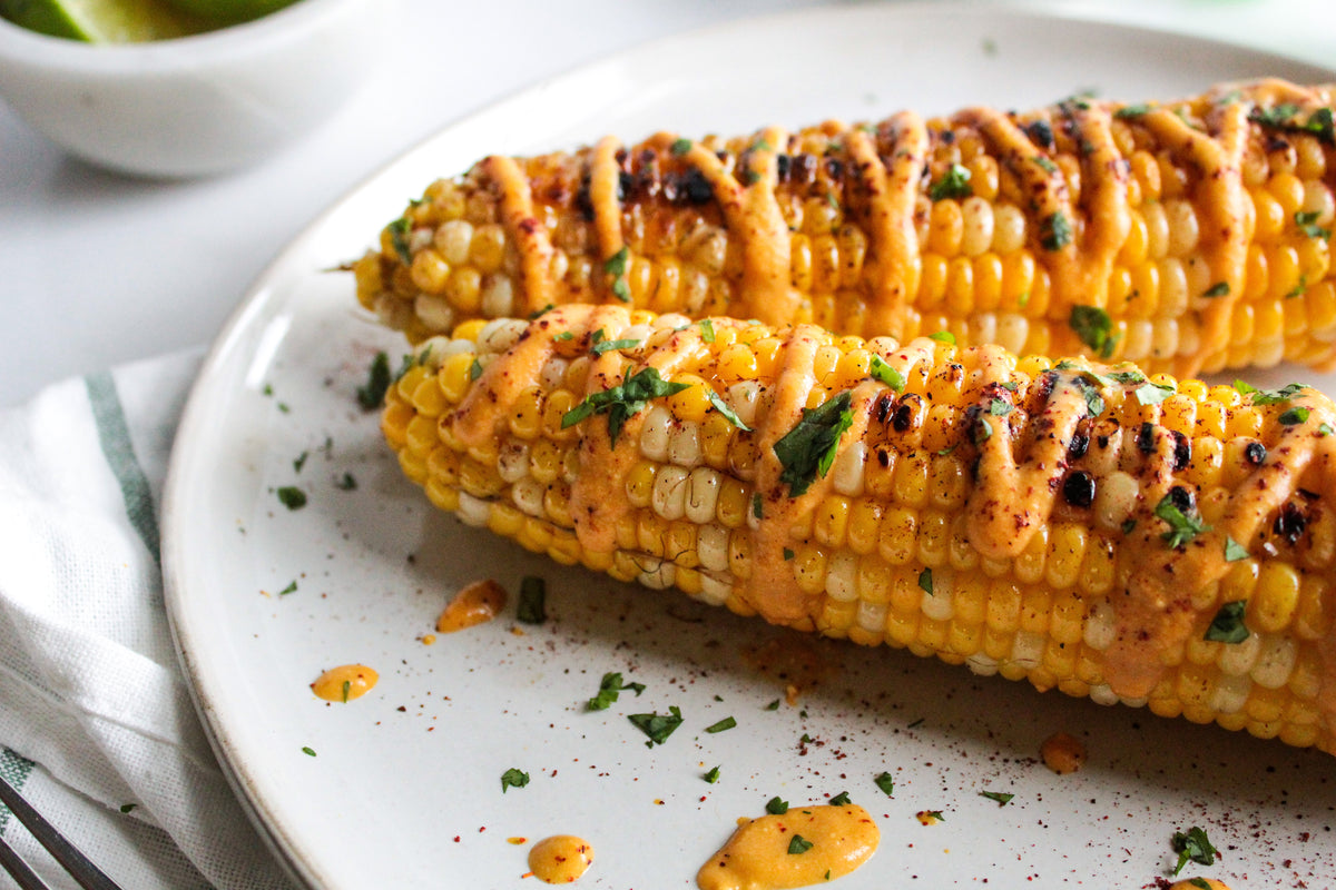 Cheesy Grilled Corn (plant-based, gluten-free)