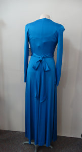 1970s Polyester Long Sleeved Formal Maxi Dress