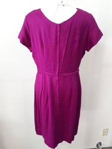 1950s wiggle dress purple with bows