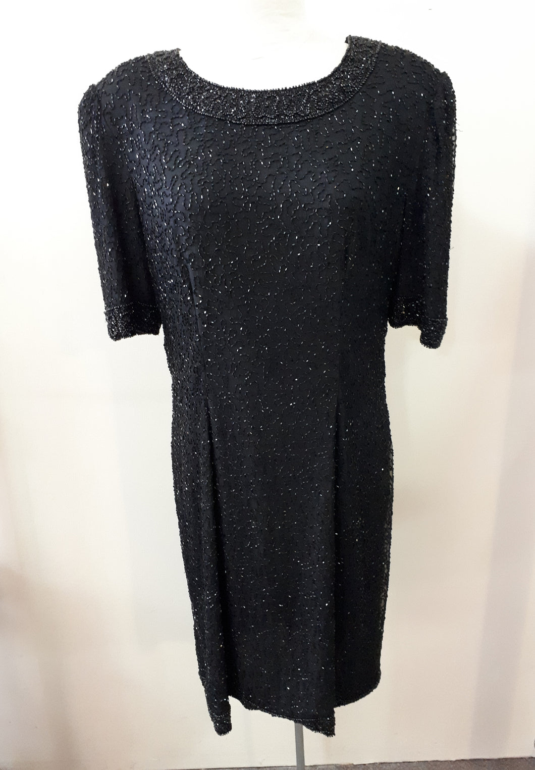Formal Black Beaded Dress Short Sleeved 90s