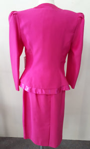 Fuschia 2 piece suit formal with skirt 90s