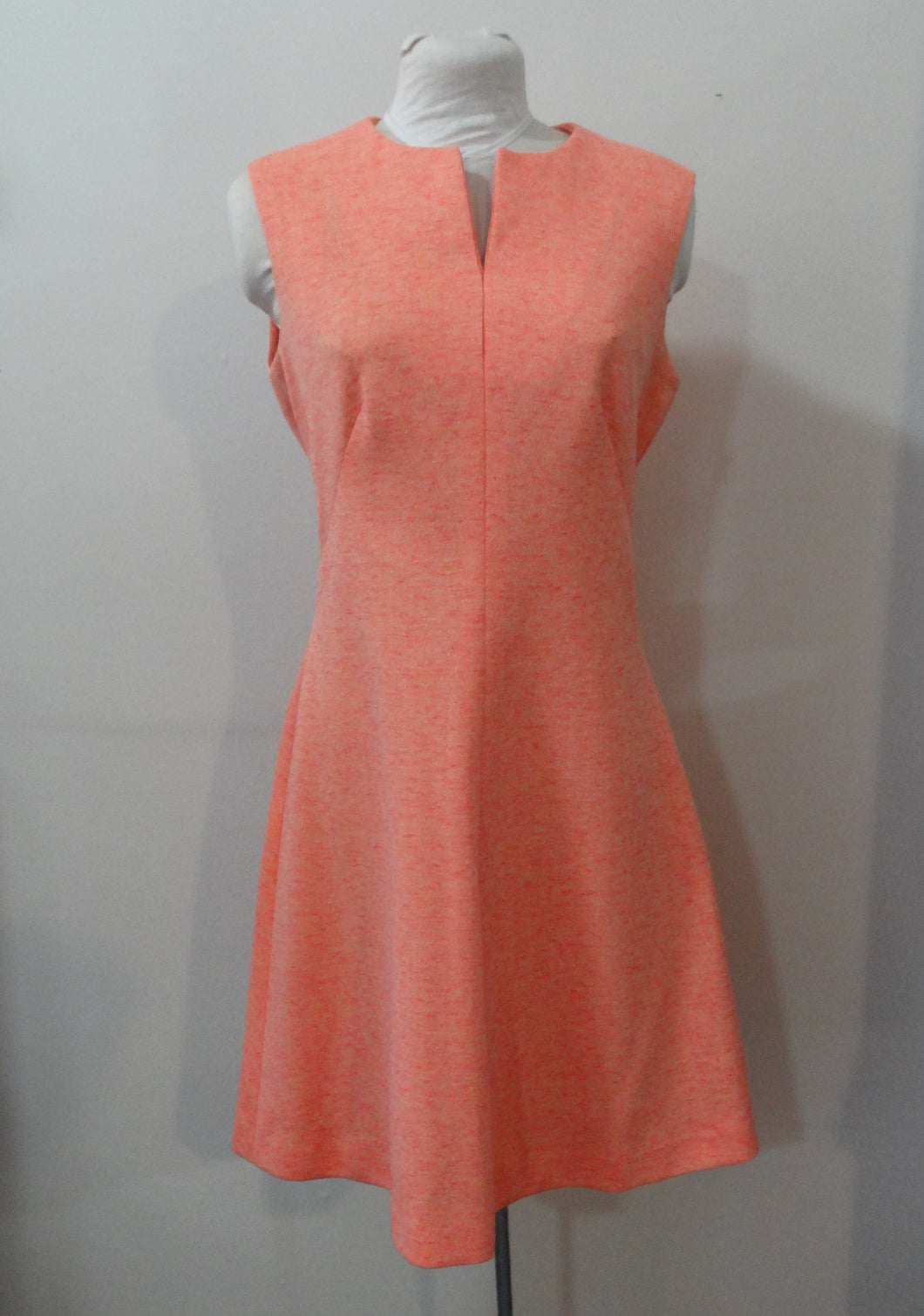 1960s Peach Polyester Fit and Flare Day Dress