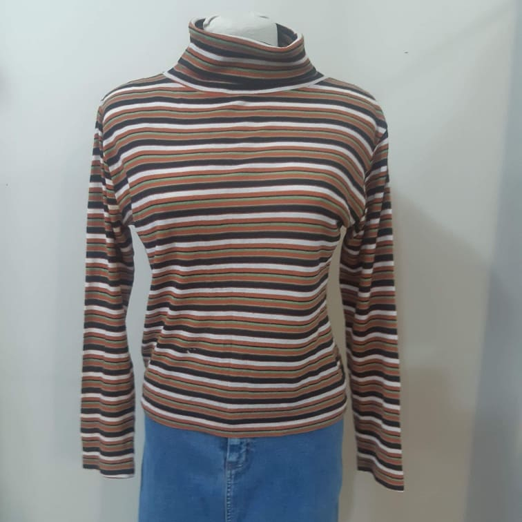 1970s Striped Turtleneck Brown and White Stripes with Bright Green Stripe