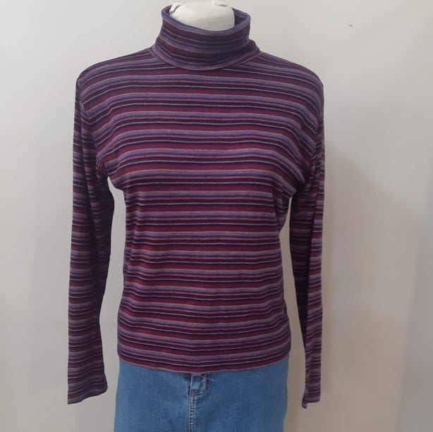 1970s Striped Turtleneck