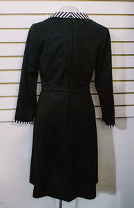 1970s Black Polyester Day Dress