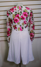 1970s White Floral Dress