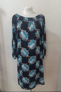 1970 Black Polyester Floral Day Dress