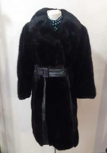 1970s Black Leather and Fur Striped Coat