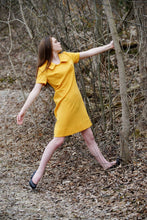 1960s Polyester Shift Mini Dress Mustard