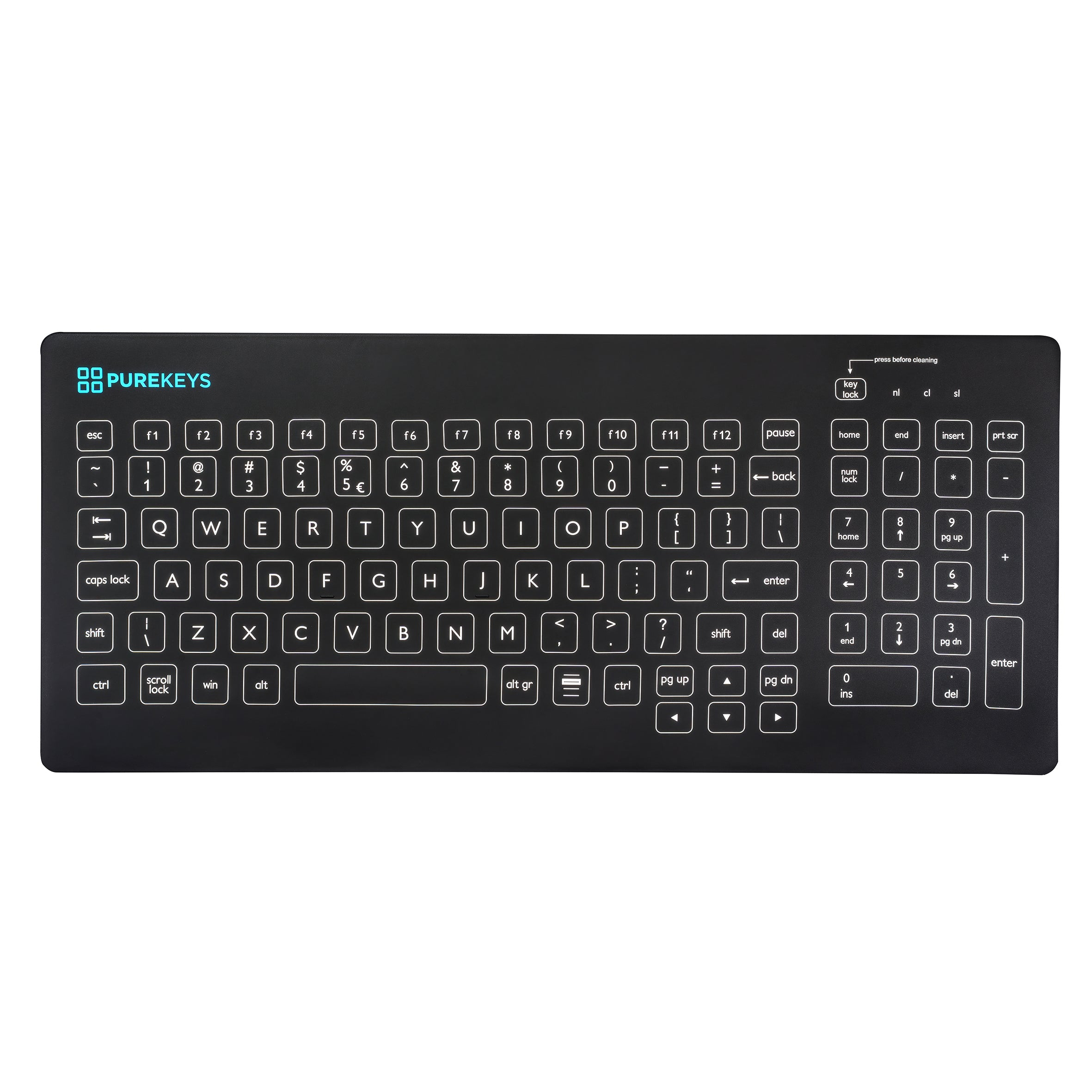 Purekeys Compact Keyboard in Black - Wired, IP66 with Tactile Feedback