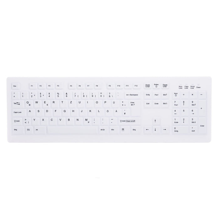 Active Key AK-C8100F Wipeable Keyboard in White with Numpad - Wired