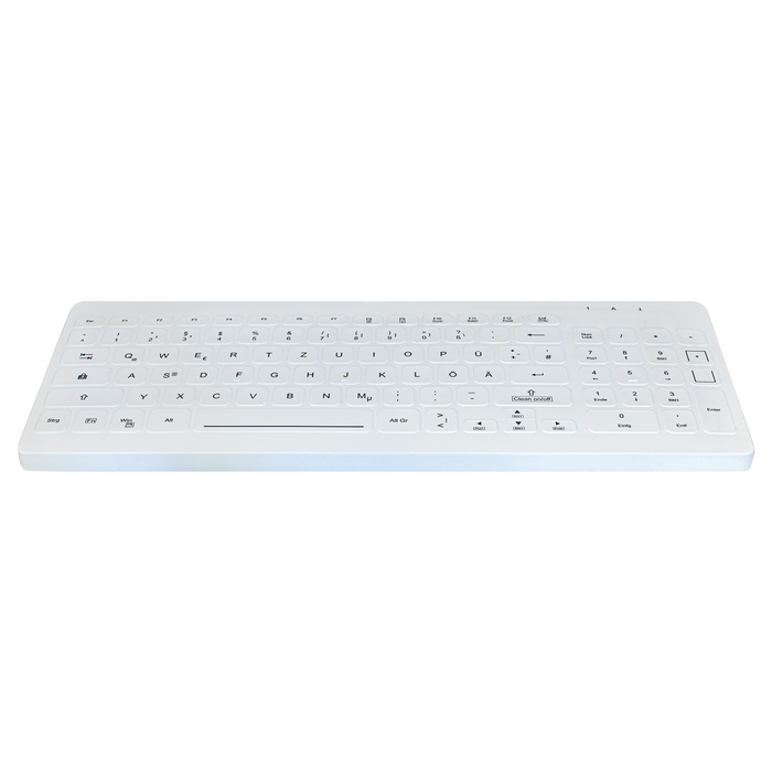Active Key AK-CB7012F Compact Ultraflat Wipeable Keyboard in White with Backlighting - Wired
