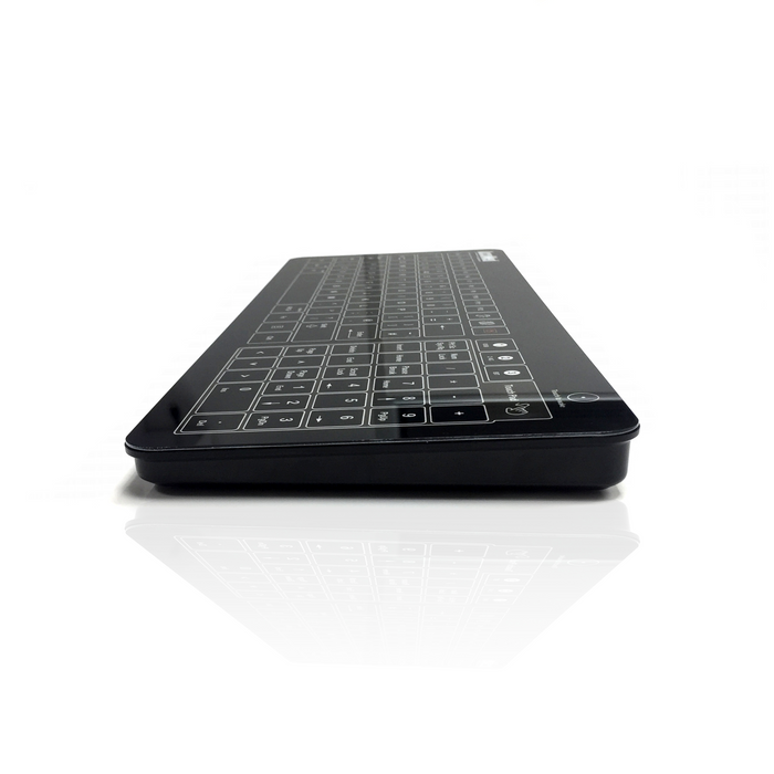 AccuMed Glass Keyboard with Integrated Touchpad in Black (Wired or Wireless)