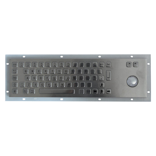 KBS-PC-D Stainless Steel Panel Mount Keyboard with Trackball