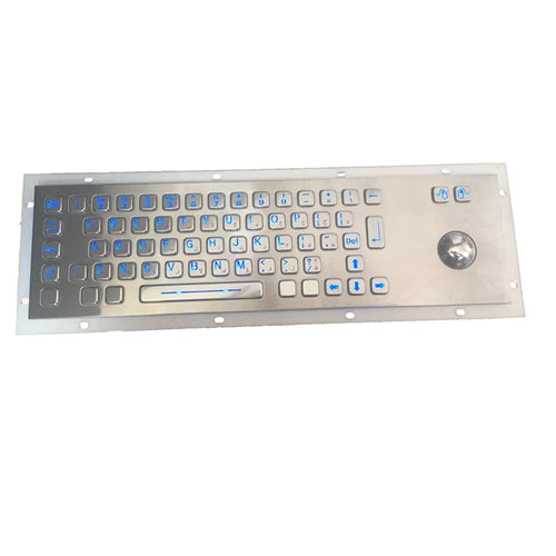 KBS-PC-D-LED Stainless Steel LED Keyboard with Integrated Trackball