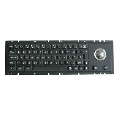 KBS-PC-H-BL Black Stainless Steel Keyboard with Integrated Trackball