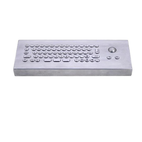 KBS-PC-MINI-T-Desk Compact Stainless Steel Keyboard with Trackball